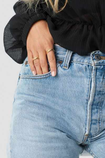 Matilda Djerf x NA-KD Structured Ring 2-pack - Gold