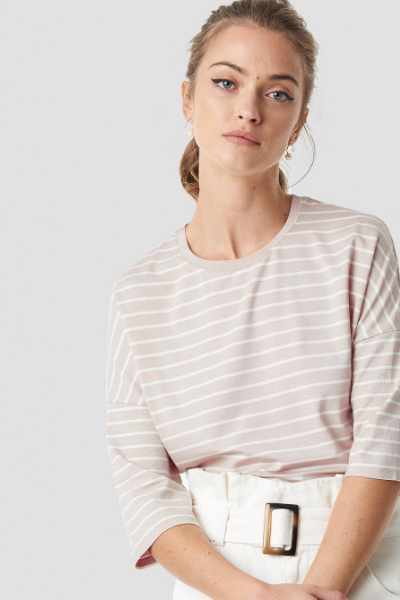 Camille Botten x NA-KD Striped Mid Sleve Top - Beige