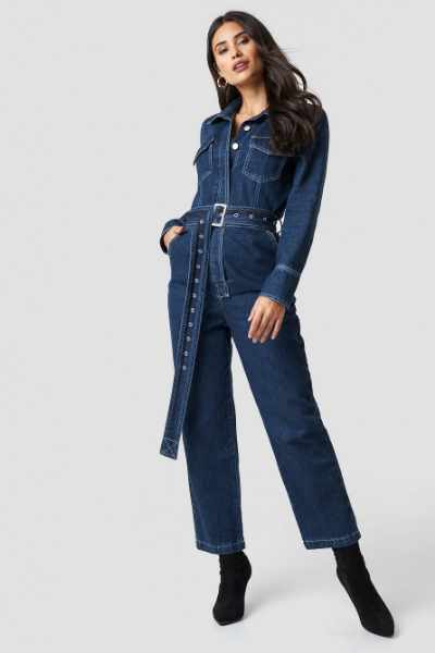 Chloé B x NA-KD Denim Belted Jumpsuit - Blue