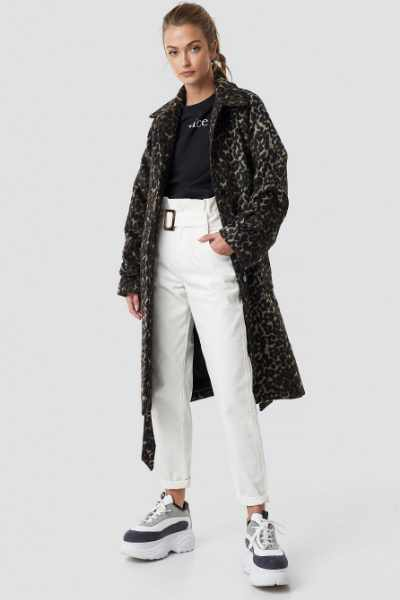 Camille Botten x NA-KD Leopard Maxi Coat - Brown