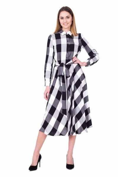 Czarno biała sukienka w kratę za kolano BIALCON cena sklep