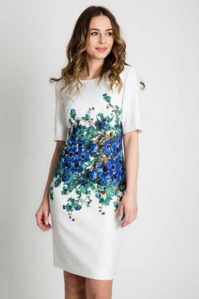 f0d45a8977dcb6 Biała sukienka z niebieskim zdobieniem w talii BIALCON cena sklep ...