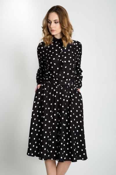 Czarno biała sukienka w grochy BIALCON cena sklep internetowy