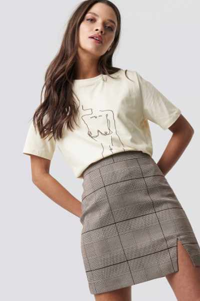 Emilie Briting x NA-KD Checked Skirt - Brown