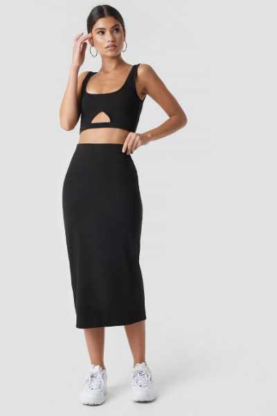 Nicki x NA-KD Spódnica basic midi - Black
