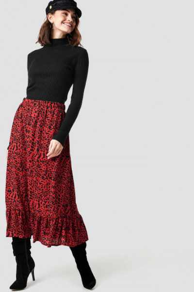 Sisters Point Emmy Midi Skirt - Red