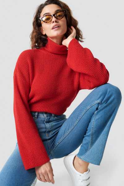 Emilie Briting x NA-KD Dropped Shoulder Polo Knit - Red