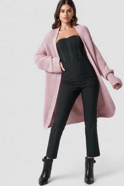 Luisa Lion x NA-KD Long Knitted Cardigan - Pink