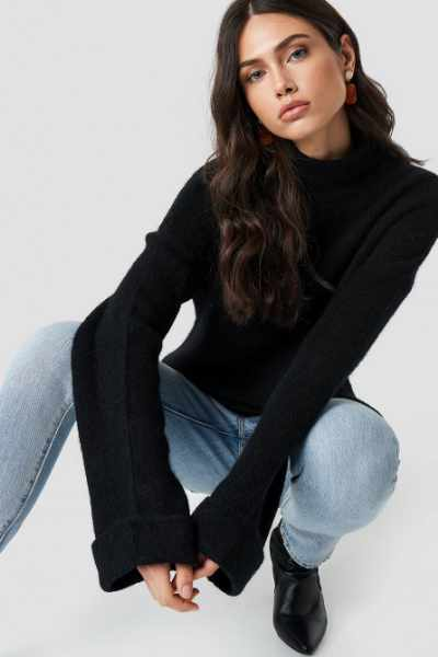 NA-KD Exclusive Alpaca Wool Blend High Neck Sweater - Black