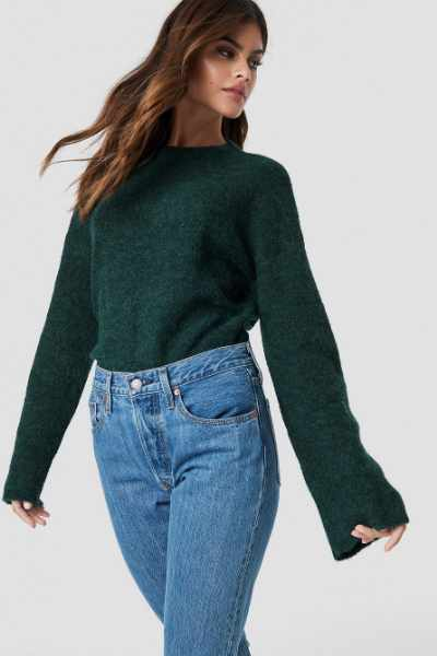 NA-KD Exclusive Alpaca Wool Blend Round Neck Sweater - Green