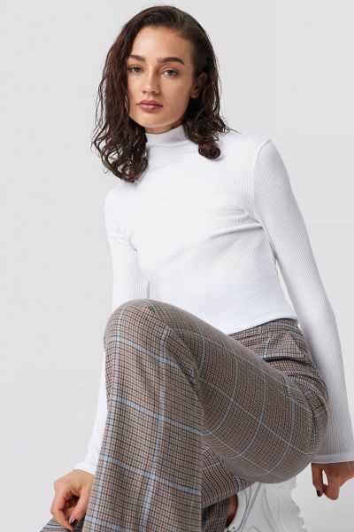 Astrid Olsen x NA-KD High Neck Ribbed Top - White