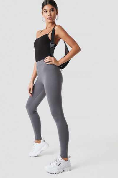Nicki x NA-KD Legginsy z jerseyu - Grey